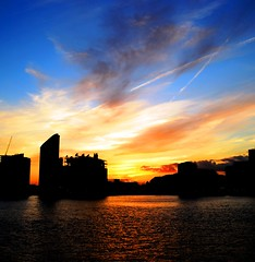 Sunset At Thames [Explored] (pallab seth) Tags: uk sunset england sky colour london thames digital river spring nikon dusk dslr canarywharf northgreenwich nikon1855mmf3556gafsdxvr d3100 nikond3100