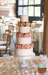 Lace, Pearls & Roses Wedding Cake (www.jellycake.co.uk) Tags: wedding roses cake barn lace pearls wellington wiltshire cezanne calne jellycake wwwjellycakecouk