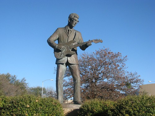 Buddy Holly Statue in Lubbock, via Flickr user The Horror