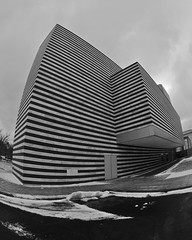 (rexp2) Tags: winter bw snow architecture cleveland fisheye oh artmuseum appleaperture blackwhitephotos nikkorfisheye105mmf28 nikond300 alienskinexposure2 nikkor105mmf28gedafdxfisheyenikkor
