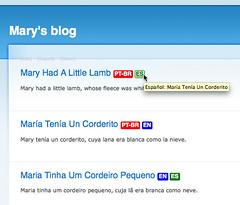 Translation Links screenshot; Teasers on home page