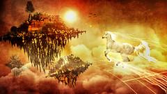 Lost Islands (Carlos.Gutirrez) Tags: sky horse orange texture yellow island caballo fly magic surreal floating fantasy unicorn islas vuelo magia fantasa unicornio flotante