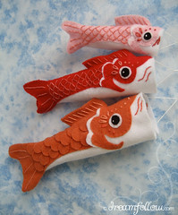Koinobori (merwinglittle dear) Tags: fish japan japanese day pattern little handmade flag felt koi childrens dear embroidered koinobori nobori
