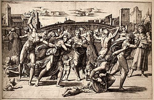 1510  Raphael    Study for the Massacre of the Innocents  EngravinGöteborg, Konstmuseum 28,3x43,4 cm  Londres, British Museum