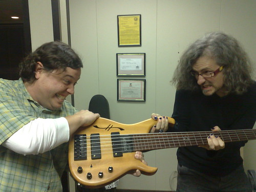 Anderson Page and Steve Lawson fighting over Steve's Bass. 'From My Cold Dead Hands'