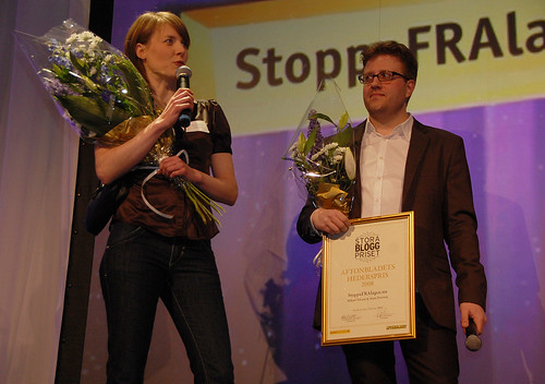 Stora Bloggpriset - StoppaFRAlagen.nu got the honorary award