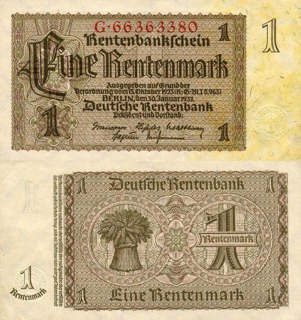 Germany P173 -1Rentenmark 1937