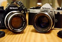Twins with lenses old and new (Tessar.) Tags: black macro zeiss iso3200 50mm fuji f14 tokina chrome pro nippon planar atx m35 zf fm2n kogaku nikkors 58cm s5pro