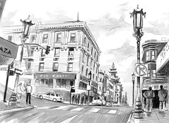 streets of san francisco (ranga krishnamani) Tags: sanfrancisco blackandwhite sketches wacom digitalillustration urbansketches