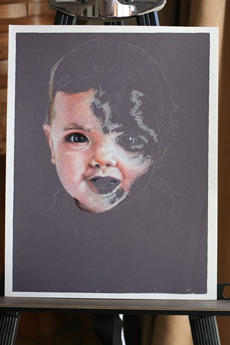 In progress colored pencil portrait of my son.