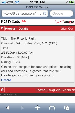 A TV Listing on FiOS Mobile