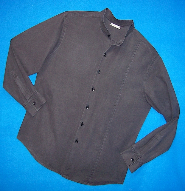 "Black ""distressed"" Silk-Hemp Mens Shirt"