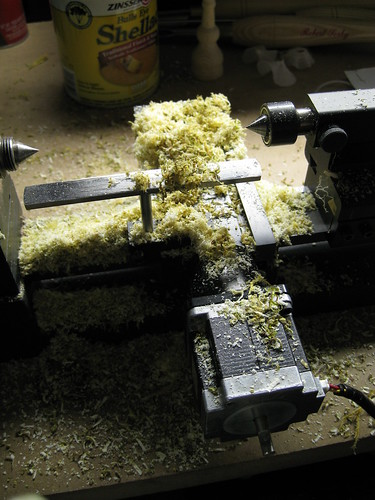 mess of wet shavings around mini lathe