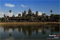 Angkor Wat (Clementqc) Tags: travel blue vacation sky cloud sun reflection heritage beautiful architecture temple ancient nikon ruins asia cambodia southeastasia khmer buddha buddhist religion monk buddhism angkorwat unescoworldheritagesite unesco international colourful d200 foreign siemreap angkor hindu travelphotography suryavarman ancientcivilizations theravadabuddhist