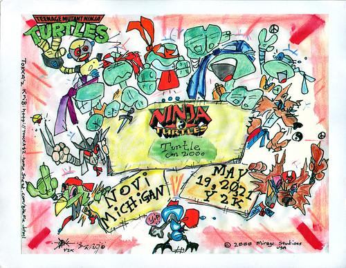 """TMNT """"Turtle - CON"""" Y2K, Motor City Comic Con ..print by tOkKa (( 2000 ))"""
