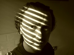 Day 68 (giofive) Tags: shadow portrait blackandwhite white man black face lines sepia self project eyes 365 lovelace 365days