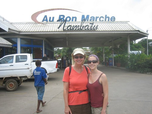 Hannah and Laura in front of the Au Bon Marche Nambatu, the best supermarket in Port Vila.  Nambatu refers to radar station number two of the US Navy during WWII.