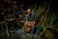 (donal mc cann) Tags: wood light character belfast workshop recycling marty carpenter environmentalportrait