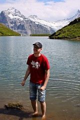 My plunge (RipperDoc) Tags: lake man mountains alps cold me switzerland first jungfrau bachalpsee martinfrojd