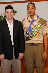 Senator Peters with new Eagle Scout Cameron Bennett