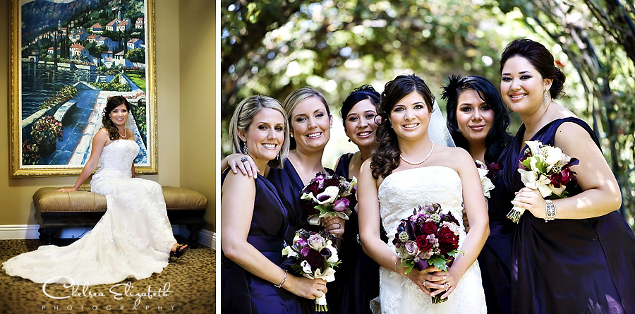 Westlake Village Inn suite and bridesmaids in rose garden