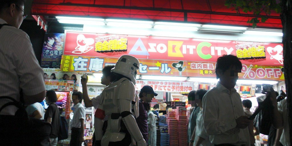 An Imperial Storm trooper walks on Akihabara chuo-st.
