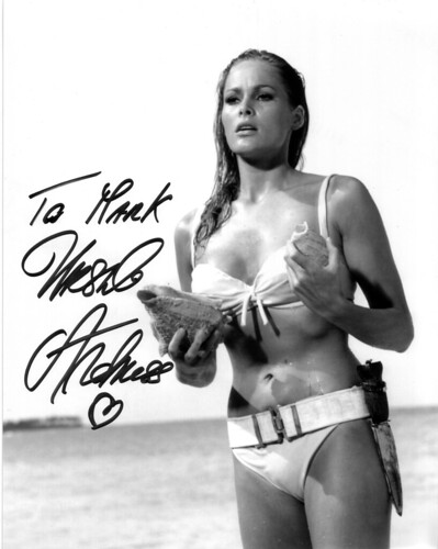Autographed photo of Ursula Andress as Honey Ryder