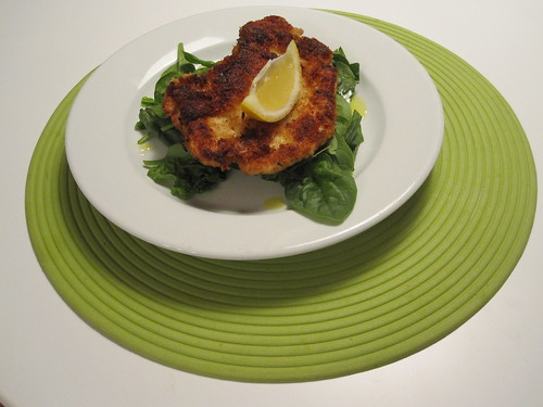 Panko lemon chicken with spinach