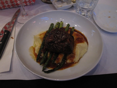 Braised veal cheek with asparagus and mashed potatoes at Macaroni