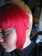 Possibly my favorite hair ever... (days were never dull) Tags: pink two black girl yellow rock hair glasses weird poser amazing cool fantastic punk awesome odd dork dye rim tone thick bleached dyed rimmed