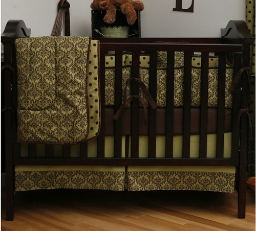 Green and Brown Damask Four Piece Crib Bedding Set