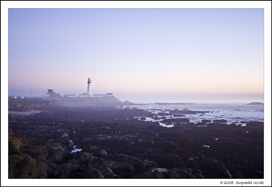 Pigeon Point Lighthouse after sunset