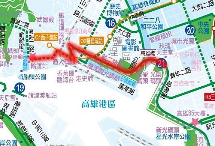 西臨港線自行車道路線示意地圖