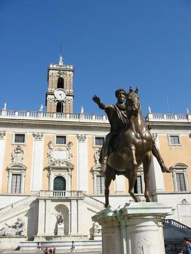 Aurelius op zijn paard voor het Capitool
