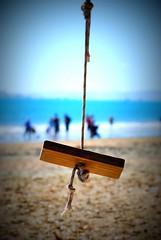 Lomo Swing (timmelm) Tags: sea sky people beach lomo sand bokeh g swing picnik nikon70300 takapunabeach pfogold