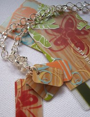 Necklace TeaTime (Jupita) Tags: red green recycled tan jewelry starbucks wearableart repurposed upcycled starbuckscard trashion jupita plasticgiftcard recycledgiftcard plasticcardjewelry