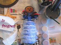 Christmas Caroler in progress (ARTerEgo) Tags: folkart polymerclay sculptureinprogress apoxiesculpt christmascarolerartdoll beerbottledoll
