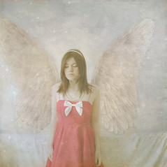 Explored yay (horriblecherry) Tags: sleeping girl angel stars flying wings dress space surreal pearls bow prink