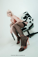 Bitchy (Marek Paju) Tags: red woman sexy stockings girl beautiful lingerie blond guns bitchy