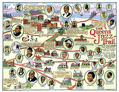 The Queens Jazz Trail by Tony Millionaire.  Posted with permission from Ephemera Press.