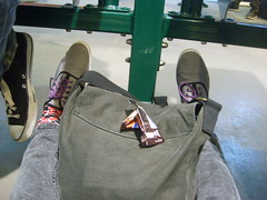 Me, and I'm at the bus station... (joking...) Tags: bus feet me station bag legs snickers