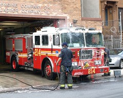 """E214e FDNY """"Nut House"""" Engine 214, Bedford, Brooklyn, New York City (jag9889) Tags: county city nyc house ny newyork building station architecture brooklyn truck bedford fire engine company kings borough 111 ladder firehouse stuyvesant fdny 2009 department firefighters seagrave bravest 214 engine214 ladder111 y2009 e214 jag9889"""