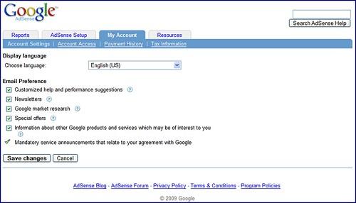 Google AdSense Email Preferences