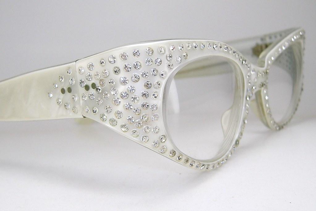 e00a635fd11e Vintage French Pearl Rhinestone 1950s Hollywood Glam Pin Up Cat Eye  Eyeglasses (vintage50seyewear) Tags