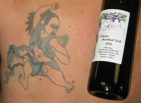 Windy Knoll wine, Hwarang warrior tattoo. A bottle of Windy Knoll wine from