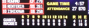 Rockies Giants scoreboard