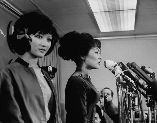 Oct 1963 U.S. - Mme. Ngo Dinh Nhu (R) and daughter Ngo Dinh Le Thuy (L) holding press conference upon arrival in U.S.
