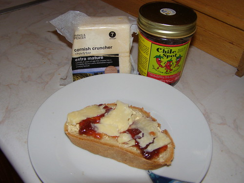 strawberry chili jam and cheddar cheese toast