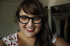 (Terin Talarico) Tags: summer selfportrait me laughing self closet glasses hipster august polkadots redlipstick nosering brunette bangs 2009 terin buddyhollyglasses
