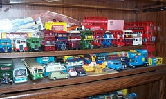 Corgi Buses, Coaches, Vans & Cars. (pmadsidney) Tags: red england bus london ford bedford toys corgi display wwii gray plastic replica minicooper routemaster coaches matchbox doubledecker leyland schweppes dinky londonbus londontransport solido diecast sunstar triang 150th 125th outspan toys2 diescast